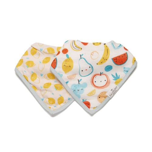 Calling all on-trend babies! Available in a range of chic prints, our muslin bandana bibs have a super-absorbent terry backing to withstand dribbles, spit ups and spills. Featuring three nickel-free snaps, they're adjustable to fit babies from three to 36 months.