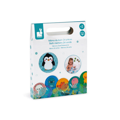 Funny memo game to play in the bath! 24 foam cards that float and hold onto the earthenware when wet. Ready for a little game ?! A game that will develop your child's dexterity and memory.