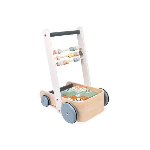 An early-childhood development cart to accompany your baby's first steps. With 20 blocks illustrating letters from the alphabet, numbers and basic shapes, as well as 3 abacus rows to start counting. A range featuring delicate colours and rounded lines, inspired by current trends to gently support your child's first steps in learning!