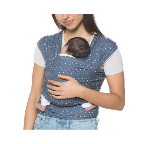 Being close to mom's heartbeat calms a baby like nothing else. Our indigo wrap is easy & ideal for beginners. Wrap on!