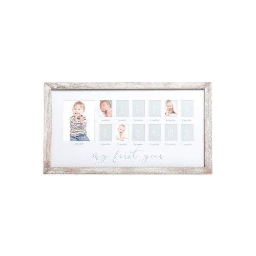 """Baby's first year goes by in an instant! Make sure to capture each and every moment with Pearhead's first year frame. This rustic, white wooden frame holds 12 1.25"""" x 1.75"""" small photos and 1 large 4"""" x 6"""" photo to highlight every moment of baby's first year. An acid-free beveled mat is included to border each picture. Don't let any adorable, fun, and memorable moment pass you by! Snap a picture each month and add it to the collage or add your pictures all at once and display proudly in your home. """"My first year"""" is printed in gray on the white mat. The mat also includes baby's age printed below each appropriate picture. This frame is perfect for hanging in your home or in baby's nursery with the included sawtooth hanger. Don't forget to add this frame to your baby registry! It makes the perfect gift for anyone who just had a baby or just found out they are expecting. Celebrate every one of baby's moments with Pearhead's first year frame."""