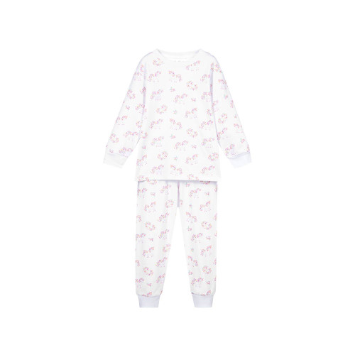 White pima cotton pyjamas for girls by Kissy Kissy, with a pretty unicorn print. Soft and stretchy, they have a comfortable elasticated waistband, a ribbed neckline and are long length.