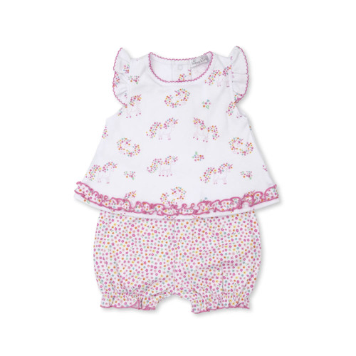 Playfully patterned with adorable unicorns, our sunsuit is made from the softest Pima cotton for ultimate comfort.