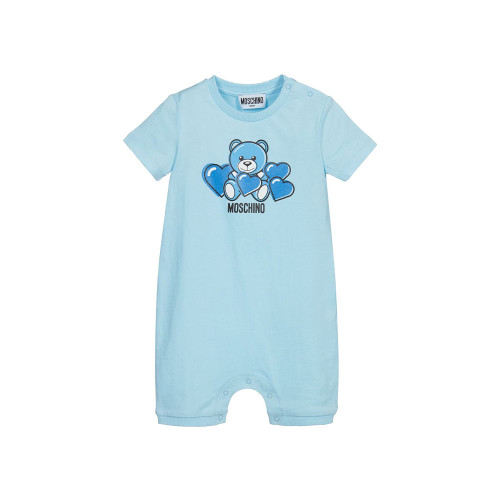 Light blue shortie for baby girls and boys by Moschino Baby, made in soft, lightweight cotton jersey.