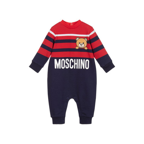 Navy blue and red romper for baby girls and boys by Moschino Baby.
