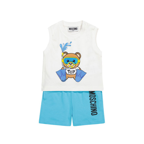 Ideal for baby's first beach day, this white-and-blue tank top and shorts set is printed with Moschino Kids' Teddy mascot in cute scuba gear.