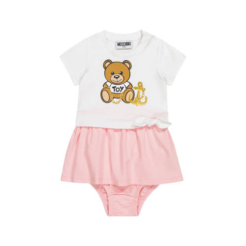 Dress baby for family days out in this charming pink-and-white outfit set from Moschino Kids.