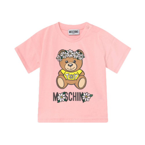 Sugar rose color crew neck Moschino Print T-shirt with a toy bear.