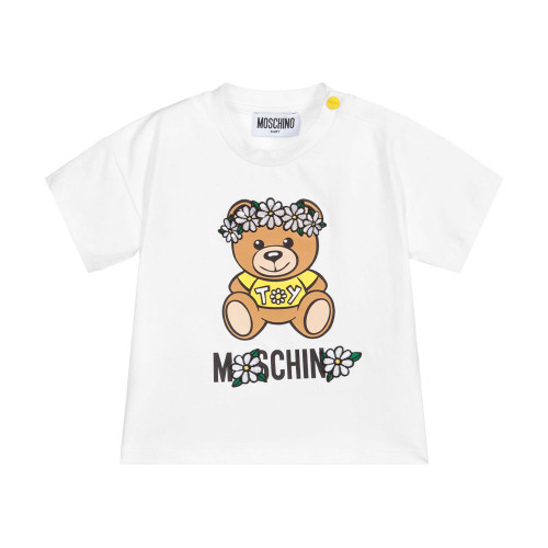 Designed for younger girls by Moschino Baby, a white cotton T-shirt with a beige and yellow Daisy Teddy Bear print.