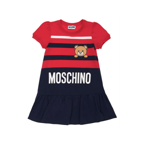 Navy blue and red dress for girls by Moschino. It is made from stretchy, comfy cotton jersey and features the brand's playful mascot.