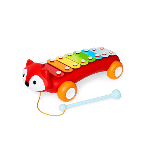 This adorable fox inspires early musical creativity with eight colorful keys. Our toy xylophone allows musical abilities to grow as babies tap each note and play their first tune. The mallet is attached so they can take their tunes wherever they go-and it won't get lost!