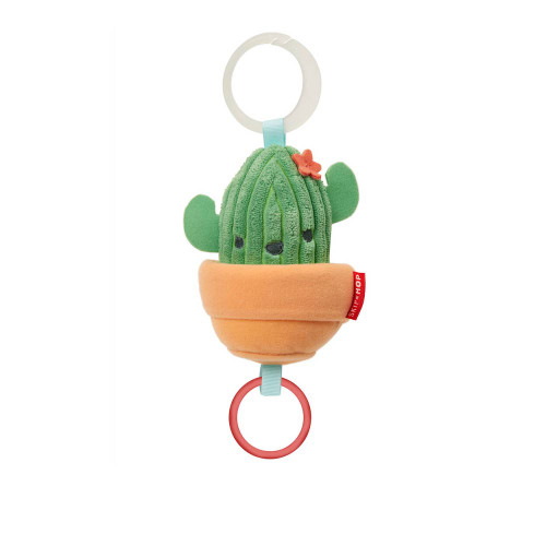 Nothing prickly about this cute cactus! Soft and plush to the touch, our potted plant pal vibrates and shakes when the ring is pulled. Attach it to your stroller and entertain baby on-the-go. It's also great for play-at-home fun!