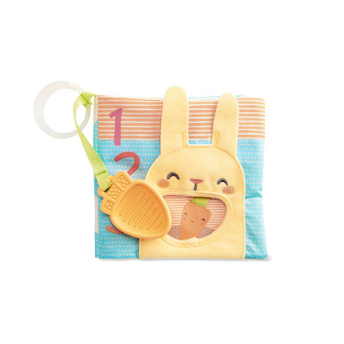 Filled with engaging activities for baby, this cute interactive book features soft pages with crinkle sounds, a baby mirror, colorful numbers, animals and garden artwork. Pop the carrot teether in and out of the hole for peek-a-boo play.