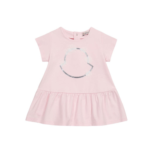 Add a subtle sense of brand recognition to baby's wardrobe with this pale pink dress from Moncler Enfant.