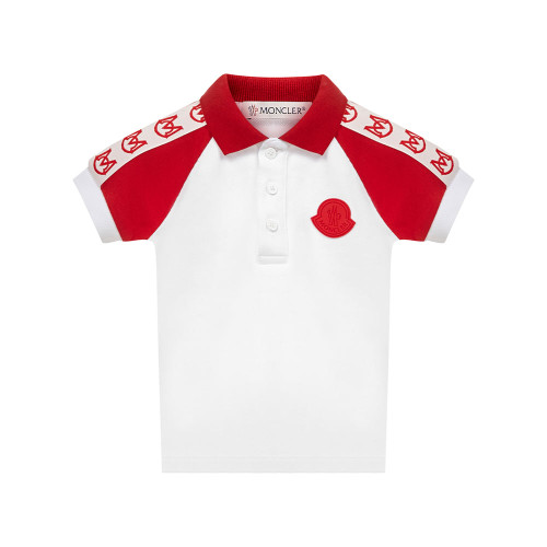 White polo shirt by luxury French brand Moncler.