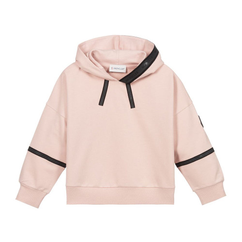 Girls pink cotton hooded sweatshirt by Moncler Enfant, with rubberised black logo tape trims.
