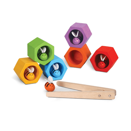 Bring children a little closer to the outdoors with the PlanToys Beehives. Six bees that vary in color (red purple yellow orange green and blue) match with a hive for a realistic beehive environment! Teach little ones about bees - their habitat diet way of life purpose etc.