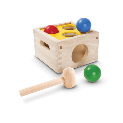 By hammering the wooden balls with a wooden mallet children exponentially improve their fine motor skills and hand-eye coordination. A better understanding of cause and effect is developed as children watch what happens when balls are hammered through the holes.