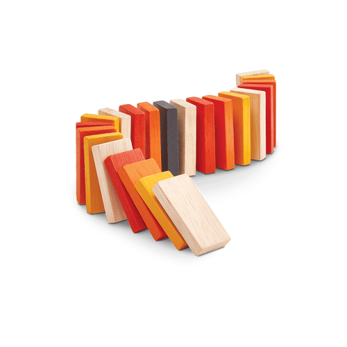 Build a domino race with these colorful blocks. Create a track from your imagination and watch them tumbling down. Children can learn about cause and effect with this set of 22 blocks.