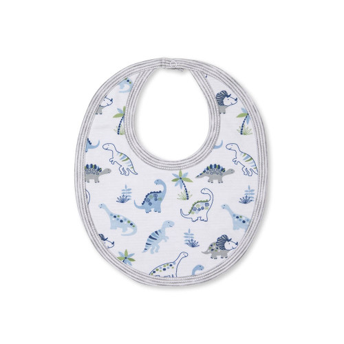 A white reversible bib for baby boys and girls by Kissy Kissy, made in a double layer of super soft Pima cotton jersey.