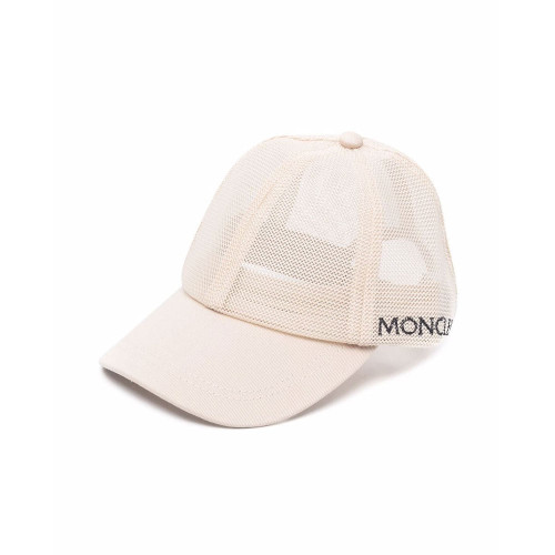 BeigeMeshbaseball capbyMoncler. Thecaphas a6-panel design. It has acurvedbill, avelcro strapat the back, amesh designand alogoat the side.