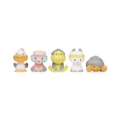 Make bath time fun with Duke & friends with this 5-piece bath toy set.