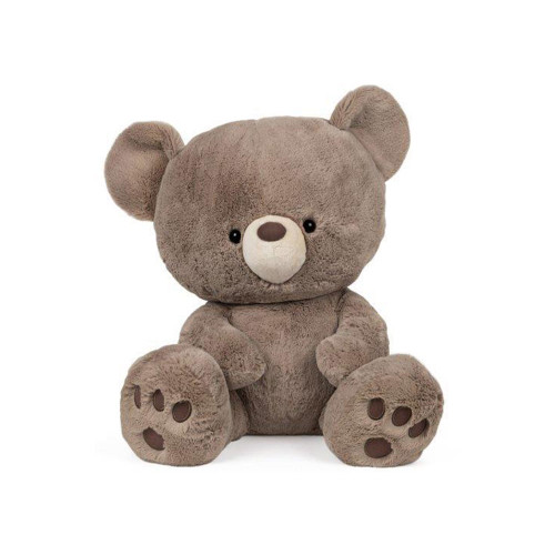 This taupe teddy bear has super-soft plush on a modern style with adorably oversized head, embroided paw pads, and beige muzzle.