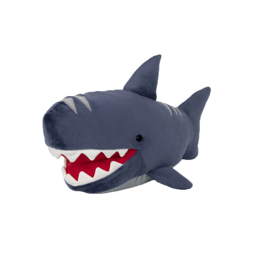 Maxwell the shark might have a big toothy smile, but this 17.5-inch blue shark with adorable gray embroidered details along his nose and back is a soft and sweet playtime partner for any young shark enthusiast.
