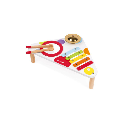 Musical table made up of a xylophone, a cymbal and a drum.