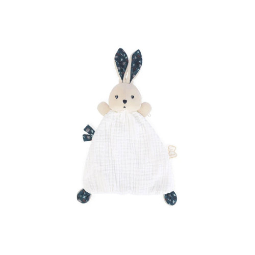 Introducing a sweet rabbit doudou with long ears and tiny feet easy to grab, that  will delight the little ones. Its body is made of two fabrics for a soft and a fluffy  side.