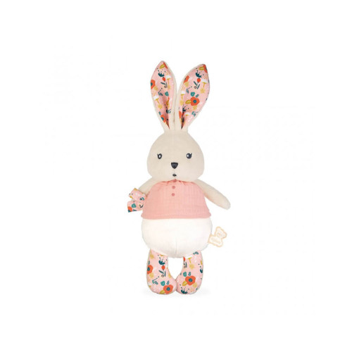 Here is a sweet rabbit doll with a plump head and body waiting to give the warmest cuddles. Babies will instantly love it in its muslin top, adorned with little  embroidered buttons.