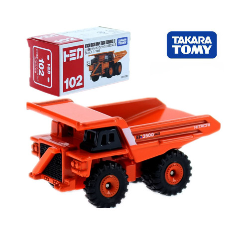 Takara Tomy Tomica No.102 Hitachi Rigid Cump Tuck Model Kit 1/185 Miniature Car Diecast Baby Toys Funny Kids Dolls Collectibles