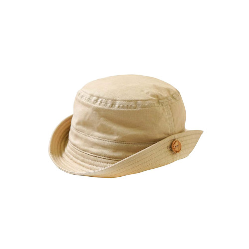 A safari hat with a wooden button.