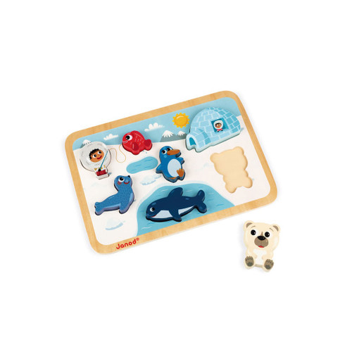 Your child will have fun putting the inhabitants of the Arctic into the right place and playing with the pieces that stand up just like real figures.