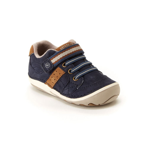 Stride Rite Soft Motion Artie navy leather athletic looking shoe for first walkers.