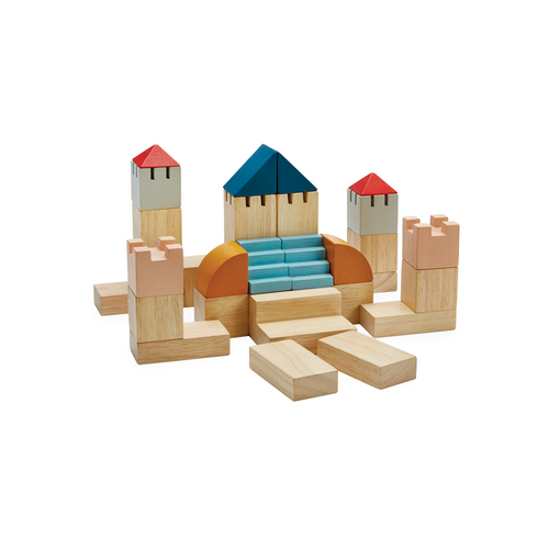 Build a castle or a city! Let your creativity take over! Contains 30 pieces with 10 shapes