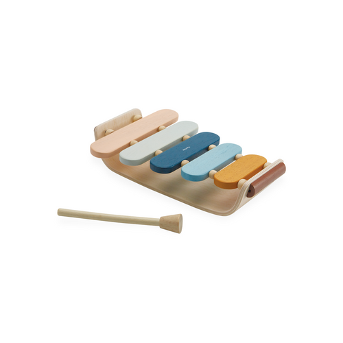 This wooden xylophone features five colorful panels that help with hand-eye coordination