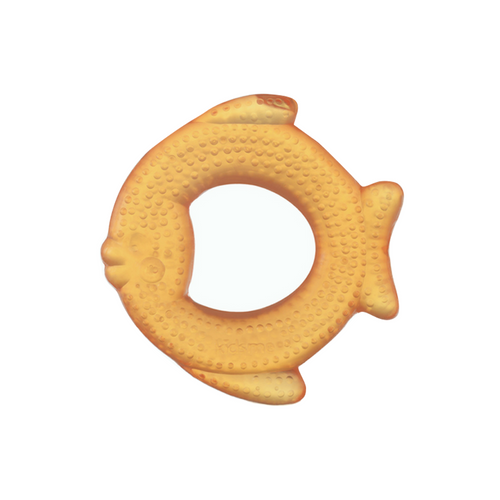 The fish shape creates interest and soothes gums. It can provide more relief if it is first placed in the refrigerator to cool.