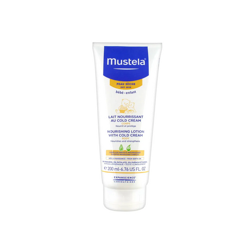 This nourishing lotion with cold cream can be used daily even on newborns* to nourish babies' dry skin durably.