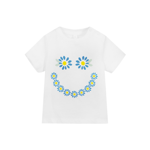 Your little flower child will be all smiles in this soft organic-cotton tee grinning with daisies.