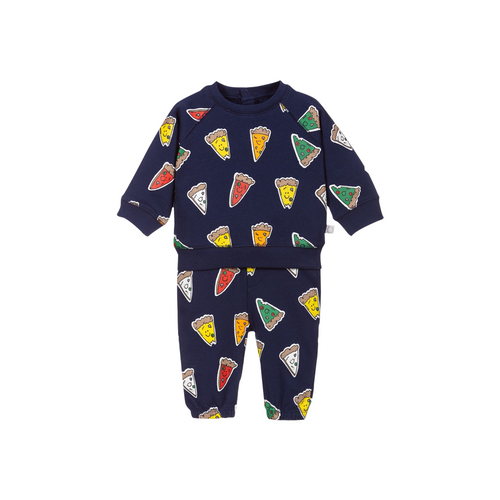 Navy blue tracksuit for little boys by Stella McCartney Kids, made in soft organic cotton sweatshirt jersey, with a colourful pizza print