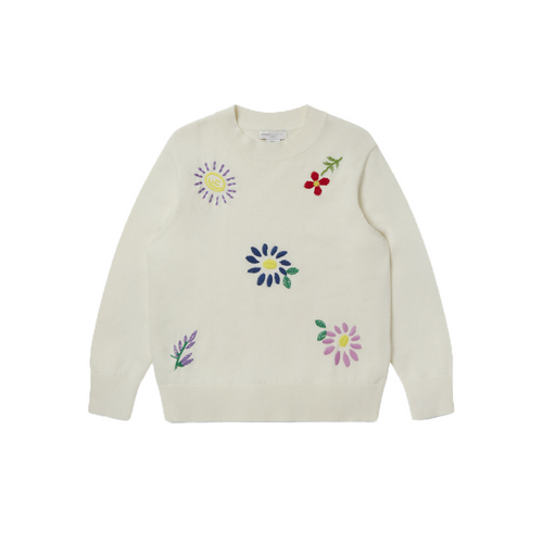 Stella McCartney Kids' inaugural Pre-Fall capsule is a playful celebration of childhood's simple pleasures, emboldened and embroidered with light-hearted graphics including florals for girls and pizzas for boys