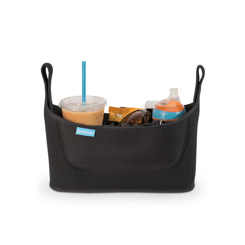 This deluxe parent console has multiple, easy-access compartments for various beverages or snacks, while a large zipper pocket stores personal items.
