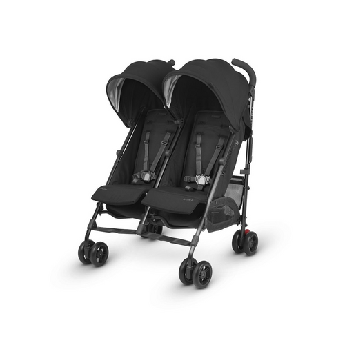 The G-LINK 2 features independent reclining seats and adjustable sunshades so that one child can nap while the other enjoys the sights