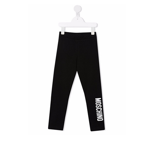 Black cotton leggings from MOSCHINO KIDS featuring stretch-design, logo print to the side and elasticated waistband.