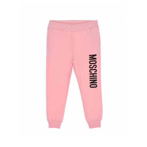 Teen boys and girls sugar rose joggers from Moschino Kid-Teen, made in mid-weight cotton jersey with a fleecy feel inside.