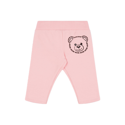 Baby girls pink cotton pants by Italian luxury brand Moschino Kid. They have a bold black Moschino Teddy Bear logo print on the back. An elasticated waistband offer a flattering and comfortable fit.