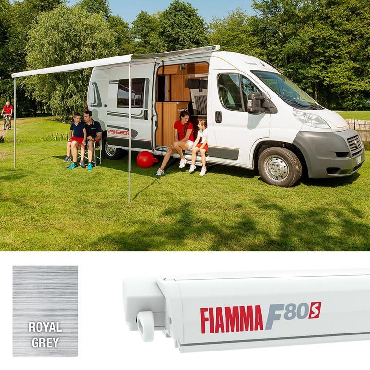 Fiamma F80S 290cm Winch Awning - Polar White Case/Royal Grey Fabric (07830A01R) (SP02928)