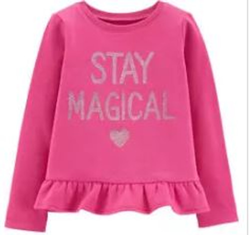 Baby Girl Glitter Stay Magical Fleece Top