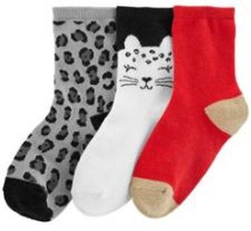 Kid Girl 3-Pack Cat Crew Socks